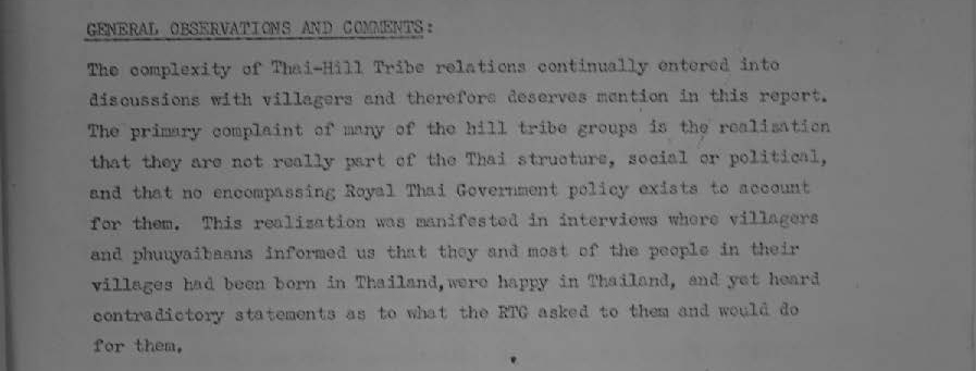 Final Report Hill Tribes the Target Audience Supplement to Final Report 1969